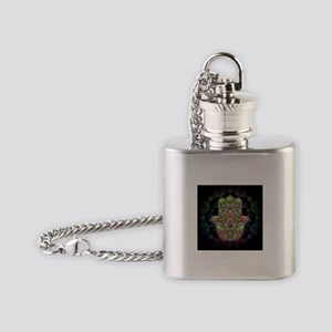 Hamsa Hand Amulet Psychedelic Flask Necklace