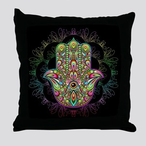 Hamsa Hand Amulet Psychedelic Throw Pillow