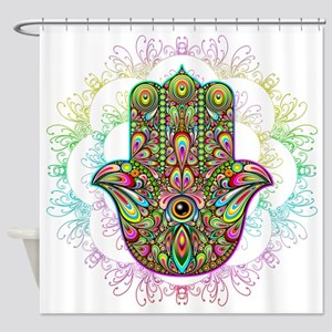 Hamsa Hand Amulet Psychedelic Shower Curtain