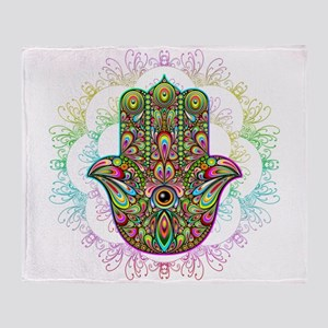 Hamsa Hand Amulet Psychedelic Throw Blanket