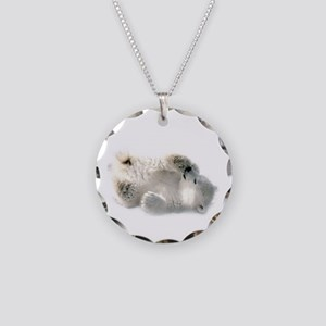 Baby Polar Bear Necklace Circle Charm