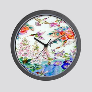 Hummingbirds Flowers Landscape Wall Clock