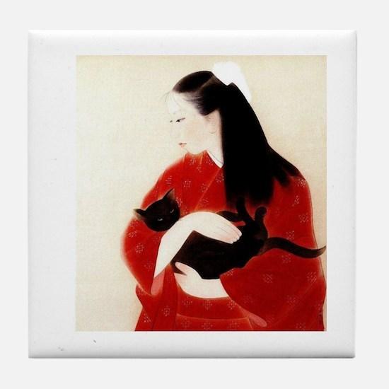 Cute The black cat Tile Coaster