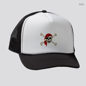 piratesSkull2Atrans Kids Trucker hat