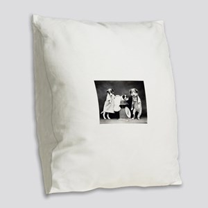 vintage puppies Burlap Throw Pillow