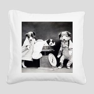 vintage puppies Square Canvas Pillow