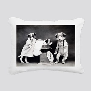 vintage puppies Rectangular Canvas Pillow