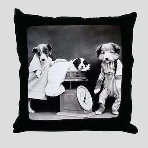 vintage puppies Throw Pillow