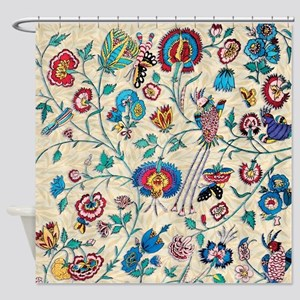 Vintage Country Floral Birds Bees Shower Curtain