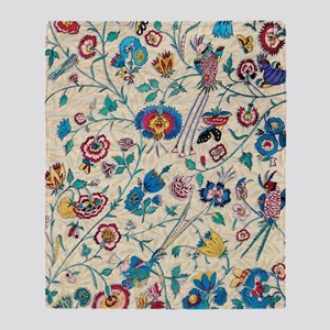 Vintage Country Floral Birds Bees Throw Blanket