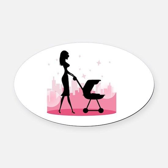 i love mom Oval Car Magnet