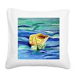 Boat at Sea Square Canvas Pillow
