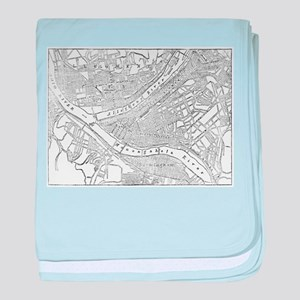 Vintage Map of Pittsburgh (1885) baby blanket