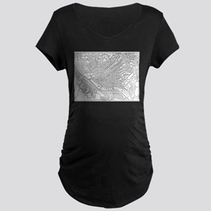 Vintage Map of Pittsburgh (1885) Maternity T-Shirt