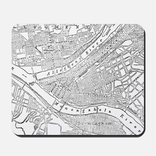 Vintage Map of Pittsburgh (1885) Mousepad