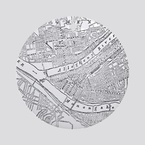 Vintage Map of Pittsburgh (1885) Ornament (Round)