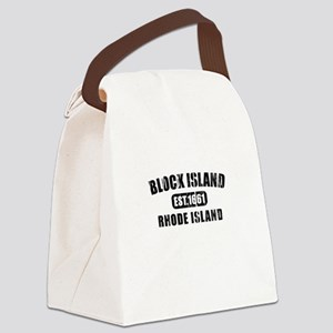 Block Island - black Canvas Lunch Bag