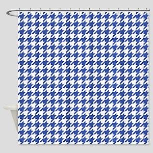 Blue Houndstooth Pattern Shower Curtain