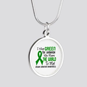Organ Donation MeansWorldToM Silver Round Necklace