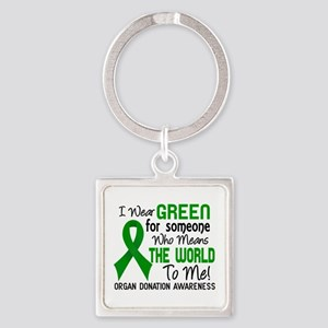 Organ Donation MeansWorldToMe2 Square Keychain