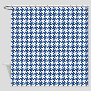 Sapphire Blue Houndstooth Pattern Shower Curtain