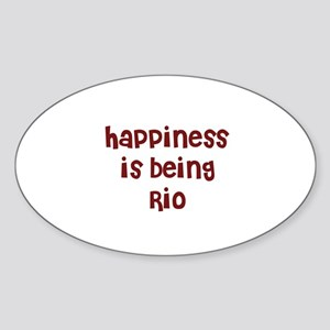 happiness is being Rio Oval Sticker