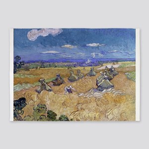 Vincent Van Gogh Wheat Stacks With 5'x7'Area Rug