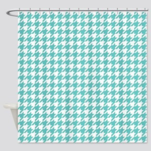 Turquoise Blue Houndstooth Pattern Shower Curtain
