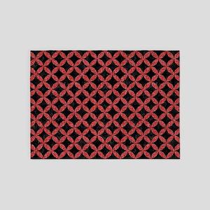 CIRCLES3 BLACK MARBLE & RED DENIM ( 5'x7'Area Rug