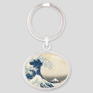 wave Oval Keychain