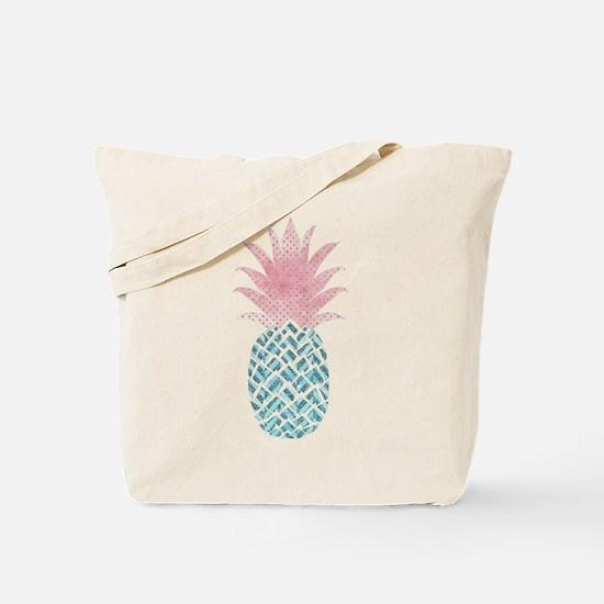 Watercolor Pink & Blue Pineapple Tote Bag