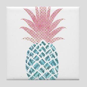 Watercolor Pink & Blue Pineapple Tile Coaster