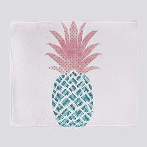 Watercolor Pink & Blue Pineapple Throw Blanket
