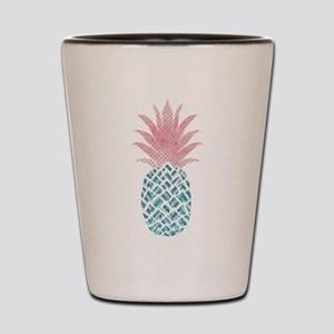 Watercolor Pink & Blue Pineapple Shot Glass