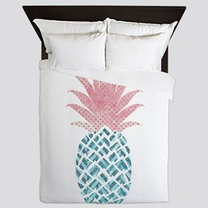 Watercolor Pink & Blue Pineapple Queen Duvet