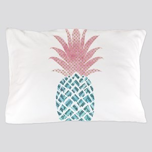 Watercolor Pink & Blue Pineapple Pillow Case