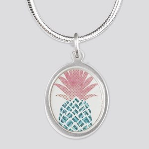 Watercolor Pink & Blue Pineapple Necklaces