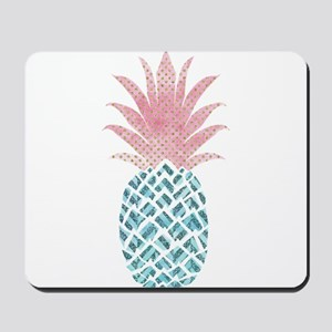 Watercolor Pink & Blue Pineapple Mousepad