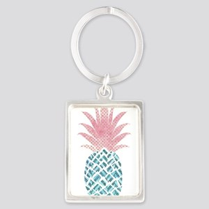 Watercolor Pink & Blue Pineapple Keychains