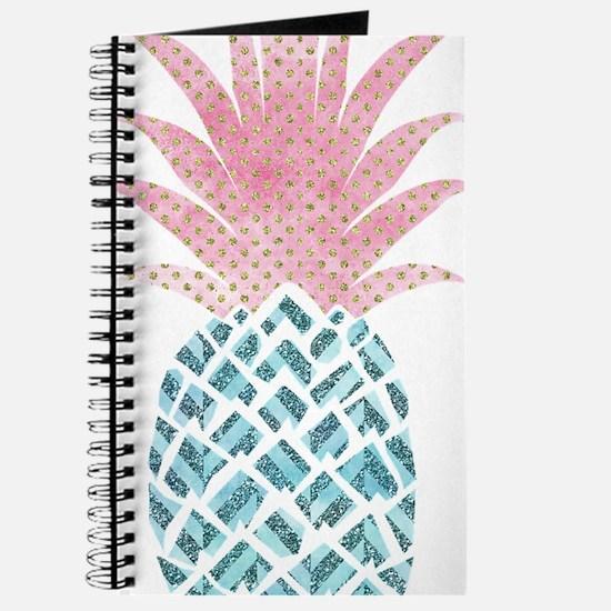 Watercolor Pink & Blue Pineapple Journal