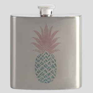 Watercolor Pink & Blue Pineapple Flask