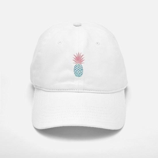 Watercolor Pink & Blue Pineapple Baseball Baseball Cap