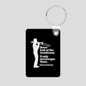 Never Look At The Trombone Aluminum Photo Keychain