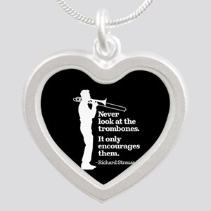 Never Look At The Trombones Silver Heart Necklace