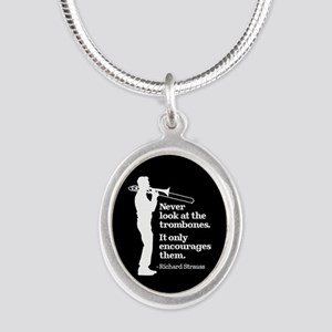 Never Look At The Trombones Silver Oval Necklace