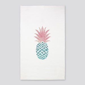 Watercolor Pink & Blue Pineapple Area Rug
