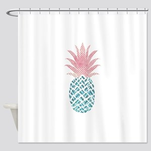Watercolor Pink & Blue Pineappl Shower Curtain