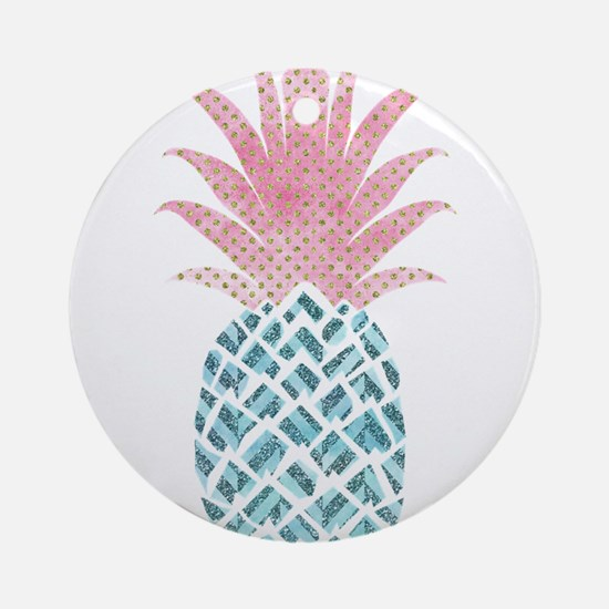 Watercolor Pink & Blue Pineappl Round Ornament