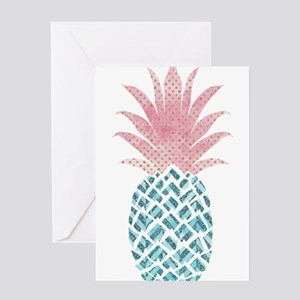 Watercolor Pink & Blue Pineappl Greeting Cards