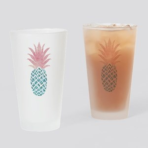 Watercolor Pink & Blue Pineappl Drinking Glass